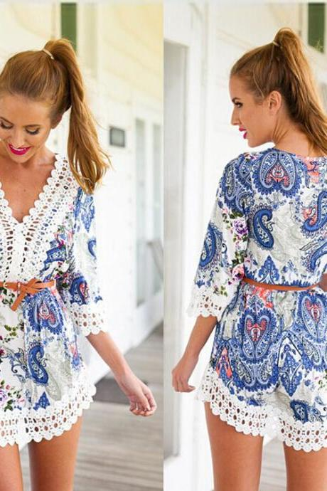 Women Sexy V-Neck Lace Crochet Floral Mid Sleeve Playsuit Short Hobo Dress