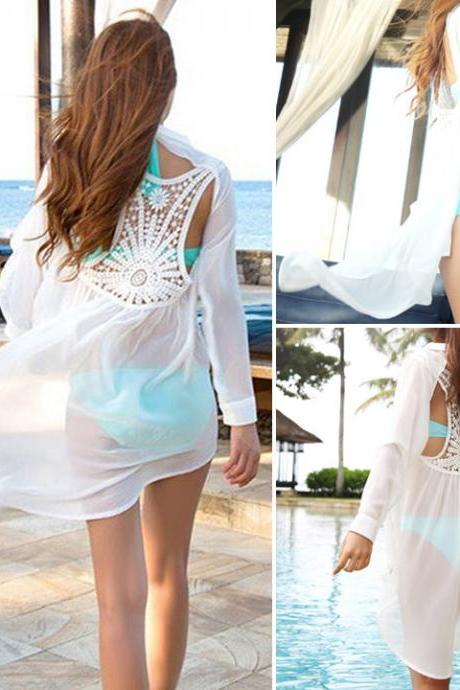 Women's Chiffon Shirt Backless Lace Crochet Bikini Swimwear Beach Cover Up Sexy White Bathing Suit