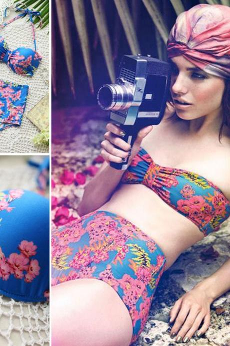 Women High Waisted Vintage Push Up Bandeau Bikini Sexy Swimsuit Swimwear
