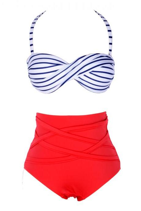 High Waist Padded Stripes Bandeau Bikini