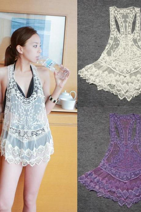 Women Sexy Lace Crochet Hollow Swimwear Bikini Beach dress Vest