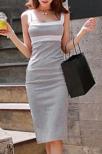 Fashion Strap Design Open Back Knee Length Dress