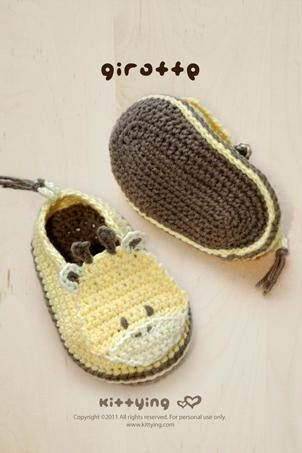 Giraffe Baby Booties Crochet PATTERN, PDF by kittying
