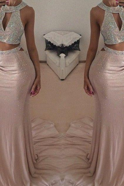 Pearl pink o neck sleeveless prom dress with beaded mermaid long evening formal dress,dress prom slit
