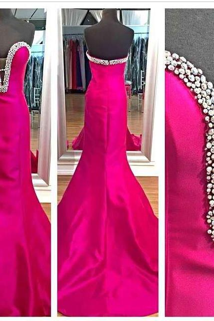 Hot pink satin sexy sweetheart beaded mermaid long prom dress,bridesmaid dress