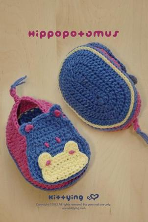 Crochet Pattern Hippopotamus Baby Booties Crochet PATTERN, SYMBOL DIAGRAM (pdf) by kittying