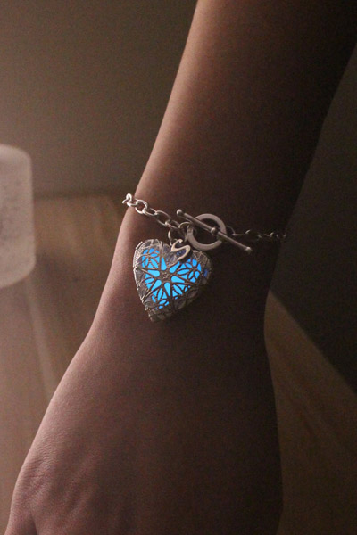 Free Shipping Aquamarine Heart Glowing Bracelet, Initial Locket Necklace, Glowing Jewelry, Glow In The Dark, Birthday Gift