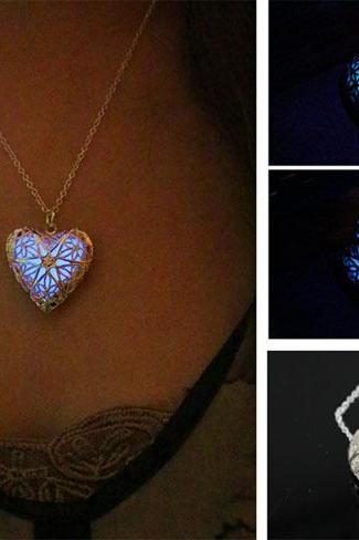Free Shipping Heart Glowing Necklace, Message Glowing Necklace, Glow Jewelry, Birthday Gift , Father's Day Gift