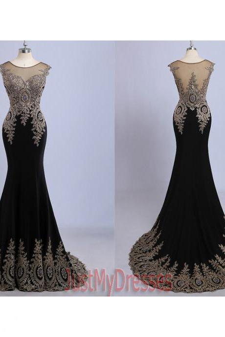 Black Long Mermaid Dress Scoop sleeveless Breading Satin Evening Gowns Party Prom Dresses 2015