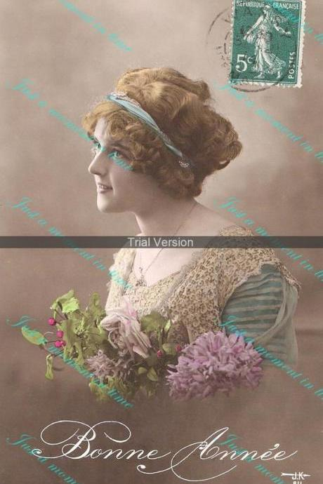 1022 Bonne Annee beautiful turn of century French greeting card image 300 dpi