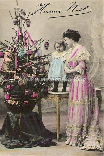 1056 .Digital download Beautiful turn of the 20th century antique French chrismas card image