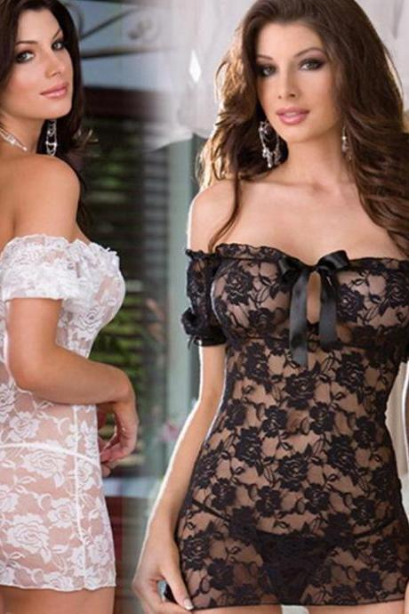 *Free Shipping* 1pcs 2014 New Lace Flowers Sexy Lingerie Costumes Babydolls Women Sex Off Shoulder Exotic Nightdress