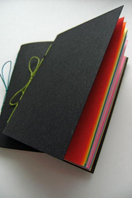 Secret Rainbow Notebook Set - Pair of Pocket Notebooks, Black with Rainbow Pages