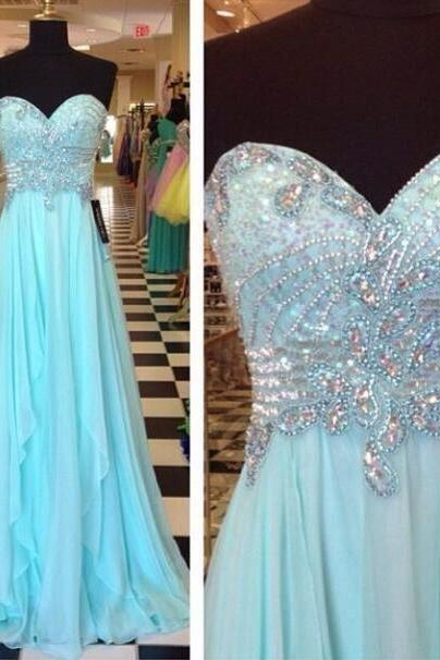 Elegant sweetheart mint green chiffon A line floor length long evening dress,beaded prom dress,formal dress