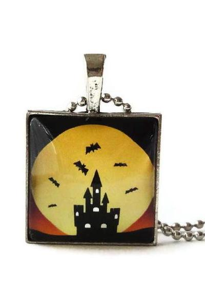 Castle Silhouette Bats Yellow Moon Light Halloween 1 inch Glass Pendant Necklace