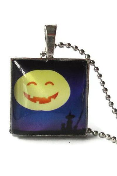 Witch Cat Silhouette Moon Tanning Yellow Pumpkin Moon Halloween Glass Pendant 1 inch Necklace