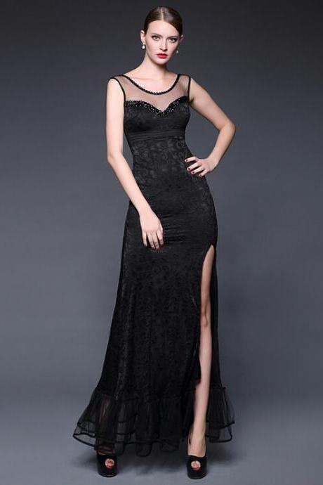 Black lace cultivate one's morality noble fashion evening dress Fishtail dress