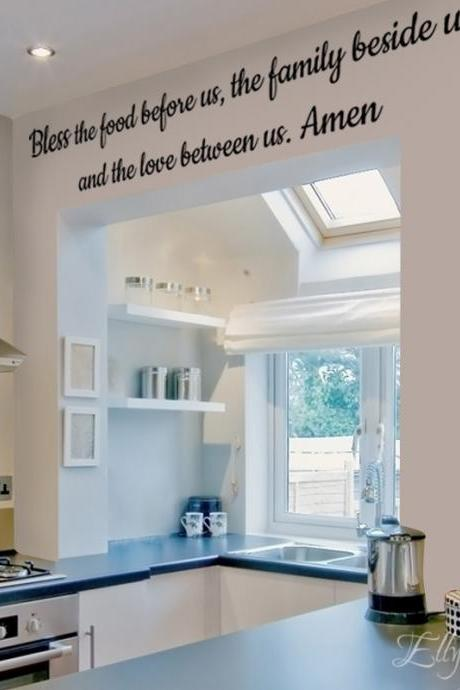 Bless the food...Wall Art Decal, home vinyl stickers, design quote stickers,inspired qoute decals