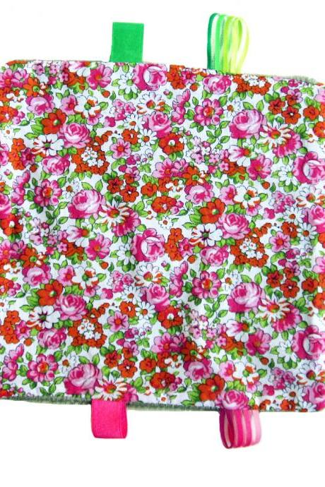 Taggie Blanket - Summer Flowers with Pink and Orange