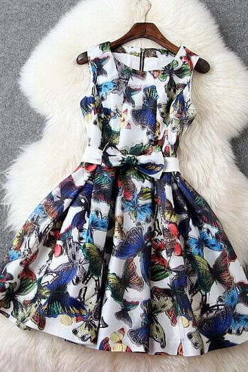 2015 New summer Fashion Organza Slim Butterfly Print Dress