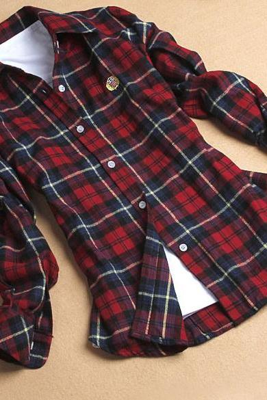Lapel Shirt Plaids Checks Flannel Shirt
