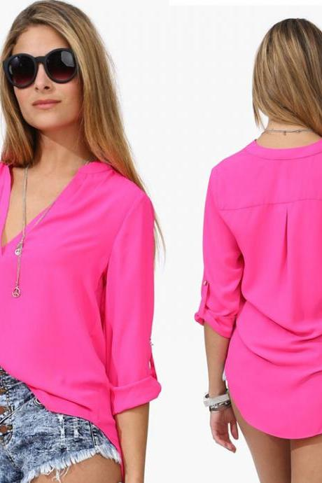 Long Sleeve Chiffon V-neck Blouse