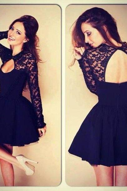 Long Sleeves Black Lace Short PromDress Ball Gown,Navy Blue Open Back Mini Length Homecoming Dresses,Mini Skirt Girl Dress,Sexy Cocktail Dress,Bridesmaid Dress