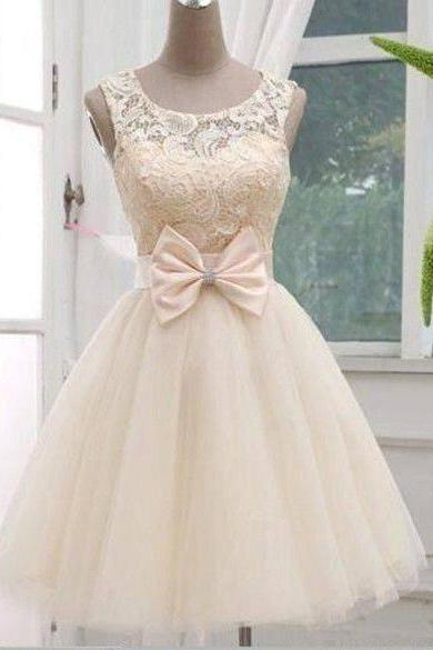 Champagne Lace Tulle Off The Shoulder Short Skirt PromDresses Ball Gown,Bow Above Knee Length Homecoming Dress,Mini Cocktail Dress,Cheap Bridesmaid Dress