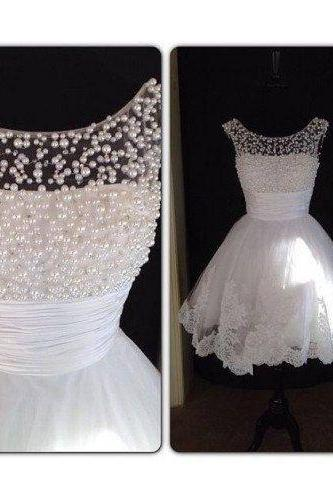 Off The Shoulder Pearls White Lace Appliques Short Skirt PromDress Ball Gowns,Mini Length Homecoming Dress,Wedding Party Dress,Bridal Dress