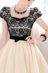 2015 summer Lace and Bow knot Design Puff Sleeve Dress