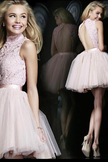 Pink backless bride wedding bridesmaid dress short dress
