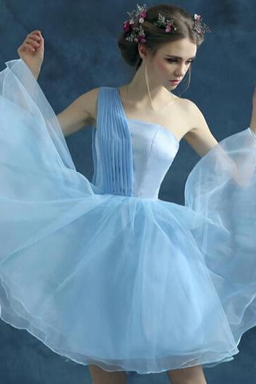 The new blue one-shoulder short prom dress wedding dress party dress