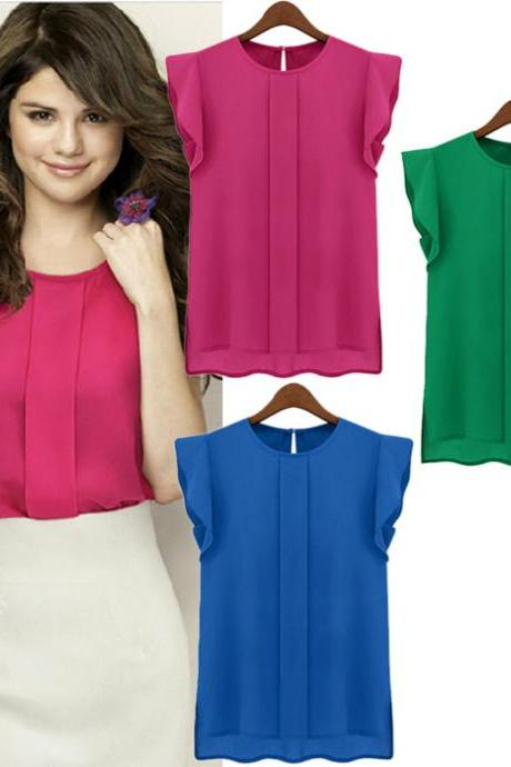 Candy Color Loose Leisure Women's Chiffon Short Tulip Sleeve Blouse Tops