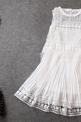 Fashion embroidered two-piece pleated dress