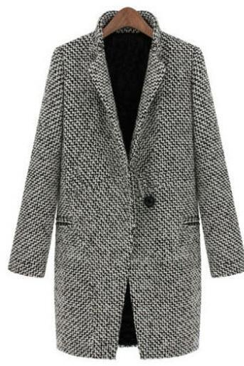 Spring/Winter Trench Coat Women Grey Medium Long Oversize Plus Size Warm Wool Jacket Overcoat