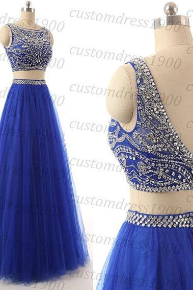 Custom made Royal blue long prom dress,handmade crystal/beading tulle royal blue formal women evening dress,cap sleeve wedding party dress