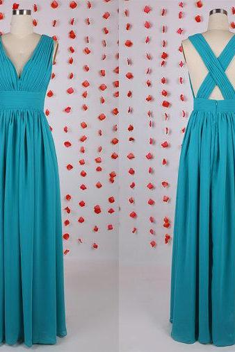 Crossing back prom dress,V Neck bridesmaid dress, chiffon bridesmaid dresses,Simple prom dress,bridesmaid dress under 100,party wedding dress, BD050605
