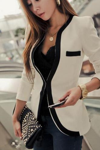 White Black Fashion New Slim Ladies Womens Suit Jacket Blazer