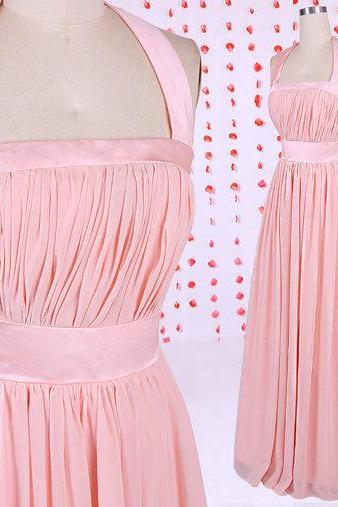 Simple pearl prom dress, pink bridesmaid dress, long bridesmaid dress, chiffon bridesmaid dresses under 100, bridal party dresses,prom dress,Pink Halter bridesmaid dresses, BD050611
