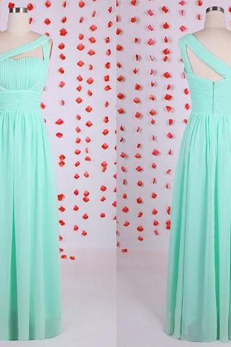 Elegant Mint bridesmaid dress, chiffon bridesmaid dresses 2015,long bridesmaid dresses, one shoulder bridesmaid dress,new arrival prom dresses,beautiful wedding guest dresses, BD050614