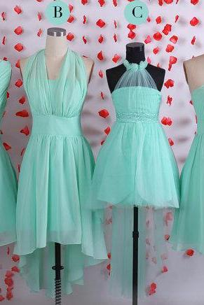 Simple bridesmaid dresses, Mint bridesmaid dress, Short chiffon bridesmaid dresses, bridal party wedding guest dresses,Junior bridesmaid dresses,Multiple bridesmaid dress,mismatched bridesmaid dress, BD050621
