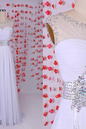 Gorgeous White backless prom dress,chiffon prom dresses ,Evening party dresses,White wedding dress,wedding reception dress,long prom dress,cheap prom dress,BD050623