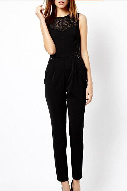 c154472a829 Women Sleeveless High Waist Jumpsuit Long Pants Summer Siamese Trousers  Romper