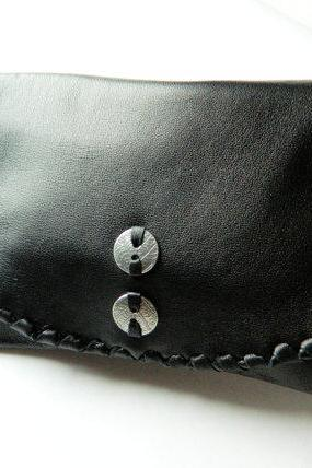 Handmade Simple Soft Black Zippered Clutch with Silver Accent