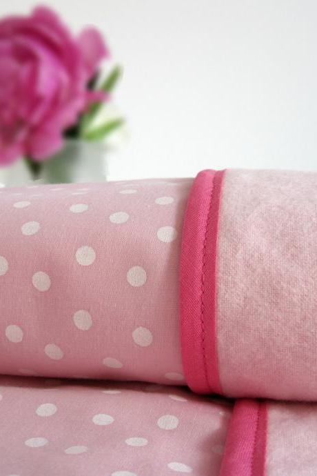 Eco Friendly Baby and Toddler Blanket - Pink Polka Dots