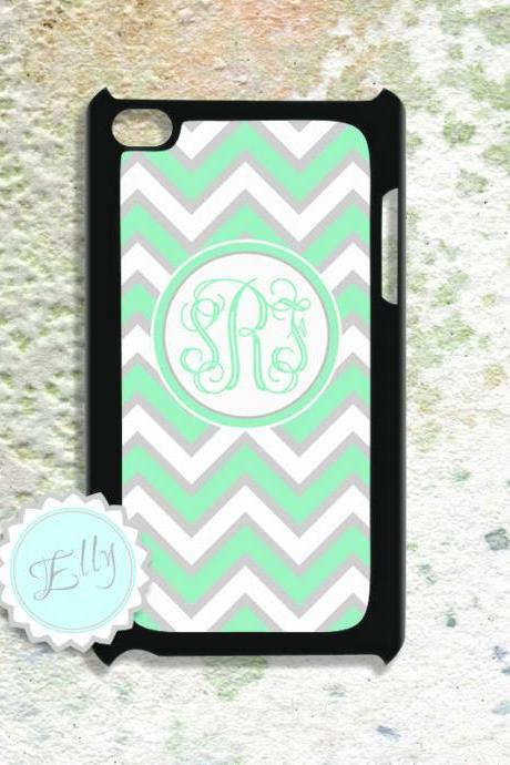Ipod touch case preppy chevron mint green monogram cover make your unique IPod Touch 4 case