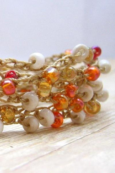 Boho Beaded Wrap Bracelet, Crochet Fashion Jewelry, Autumn Color Bracelet, Amber, Cream, Peach, Beaded Necklace, Anklet
