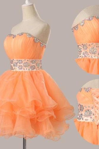 fashion mini Organza Cocktail Dresses prom Dresses evening dress Bridesmaid dresses custom made L174