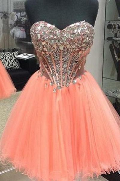 Bright Coral/Orange Rhinestoned Ball Gown Sweetheart Neckline Mini Homecoming Dress Party Dress