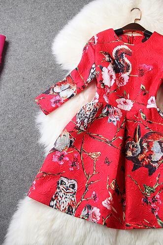 Red Squirrels Owl Printed Jacquard Women Dress